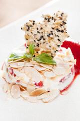 dessert with almond