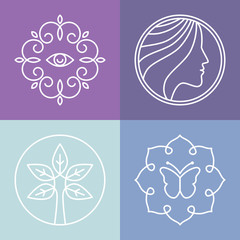 Vector beauty and spa line logos