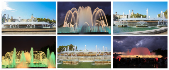 the famous and spectacular magic fountain  in Barcelona