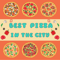 Vector illustration with different pizza and invitation