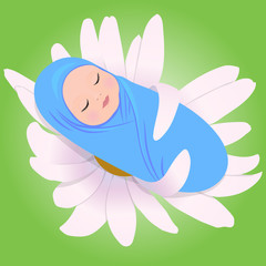 Vector illustration of sleeping babe in Daisy