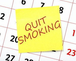 Resolution to Quit Smoking on a wall calendar