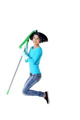 Portrait of jumping woman with a mop