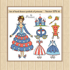 Vector set of hand drawn symbols of princess
