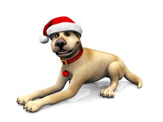 Cartoon dog wearing Santa hat.