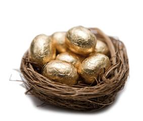 oeuf en or dans un nid d'oiseau
