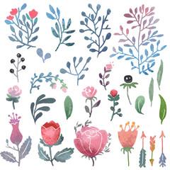 Watercolor nature clip art.