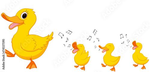 Happy Duck family cartoon - 74537590