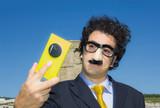 crazy masked man funny selfie portrait