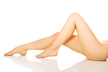 Side view of perfect female legs