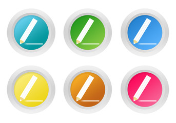 Set of rounded colorful buttons with pencil symbol