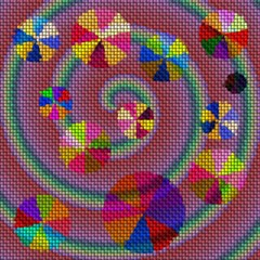 Background with spiral and colored balls on a woven texture
