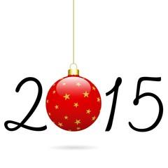 2015 avec boule rouge étoilée