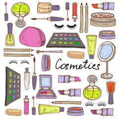 Vector illustration with hand drawn attributes of cosmetics