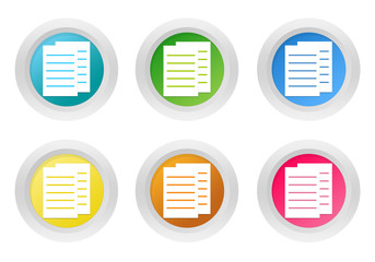 Set of rounded colorful buttons with documents or news symbol