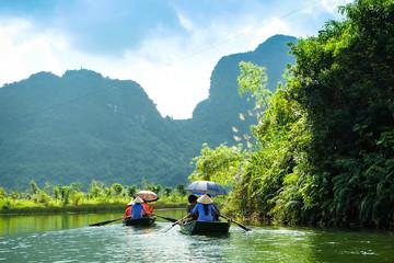 Caves popular tourist boats in Trang An, Vietnam