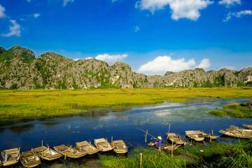 Tourist boats in Van Long. The famous eco tourism of  Vietnam.