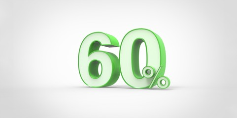 3D rendering of a white and green 60 percent letters
