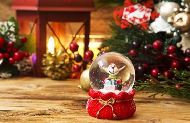 Christmas Reindeer in a Globe