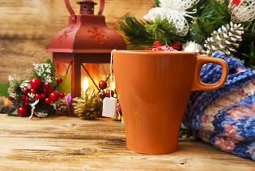 Tea Cup on Warm Christmas Background