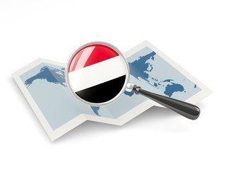 Magnified flag of yemen with map