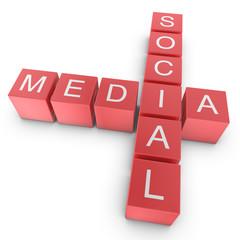 Red Social Media Crossword Concept