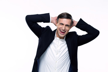Portrait of a laughing busienssman over white background