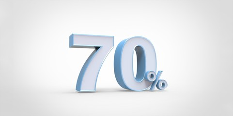 3D rendering of a white and baby blue 70 percent letters