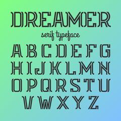 Modern serif typeface, alphabet