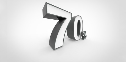 3D rendering of a white and black 70 percent letters