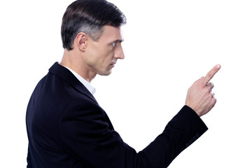 Side view portrait of a man pointing to something