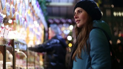 beautiful girl on the Christmas markets in Vienna