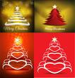 merry christmas tree background set illustration