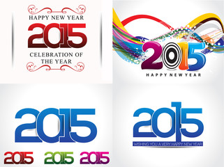 happy new year background set illustration