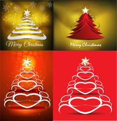 merry christmas tree background set illustration