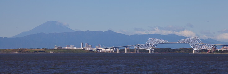 Mountain fuji and Tokyo gate bridge at Tokyo bay