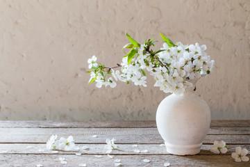 cherry flowers on grunge white background