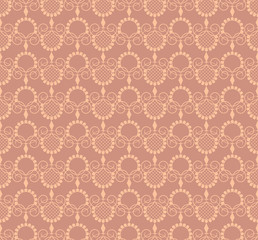Vector vintage pattern with decorative elements in brown
