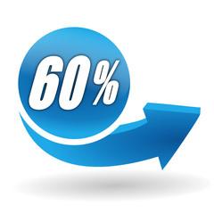 60 pourcents sur bouton web bleu