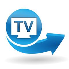 tv télévision sur bouton web bleu