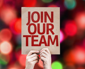Join Our Team card with colorful background