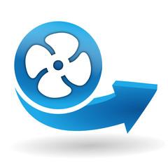 ventilation sur bouton web bleu