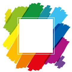 Rainbow Colored Brush Strokes Square
