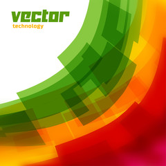 Vector background with green and yellow blurred lines