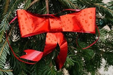 Rote Schleife als Weihnachtsdekoration