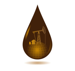 Drop of oil from the globe and oil wells