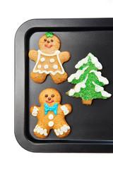 Gingerbread cookies on the pan