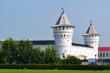 Bleached round towers of the Tobolsk Kremlin, Russia.