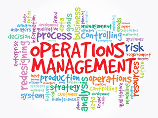 Word cloud of Operations Management related items, vector