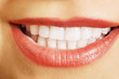 Close up on woman white teeth